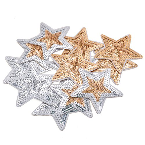 (Buorsa Sequins Appliques for Clothes Star Embroidered Patches Iron On Patches for Clothing,3 Colors,12 Pieces)