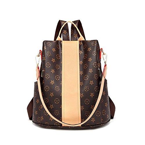 Leather Bag Shoulder Women Brown Purse PU Fashion theft Handbags Designer for Rucksack Purse Print Anti 2 Backpack wEzqxO5