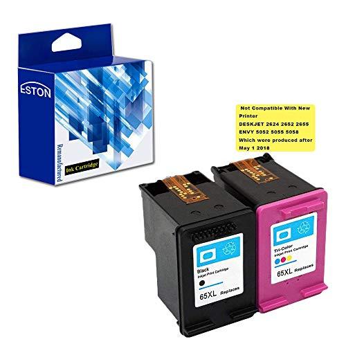 ESTON Re-manufactured Ink Cartridge Replacement for HP 65XL High Yield for HP DeskJet 3720 DeskJet 3730 DeskJet 3755 (1Black 1Tri-color,2-Pack)