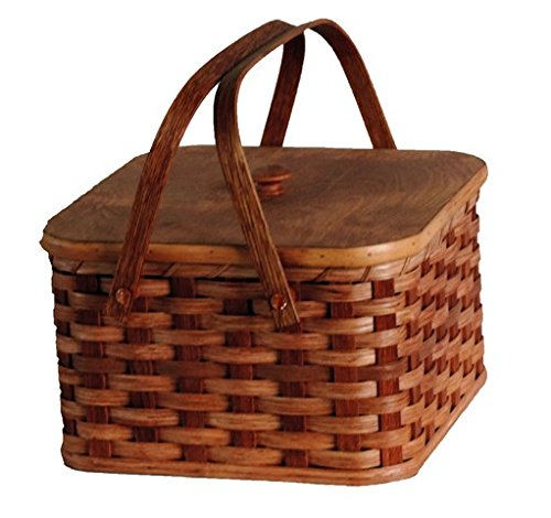 AMISH BASKETS AND BEYOND Amish Handmade Square Double Pie Basket w/Inside Tray, Lid, and Two Swinging Carrier Handles (Natural w/o Liner, Regular)