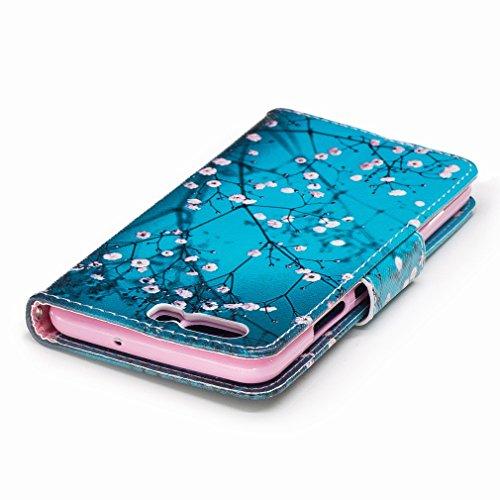 Yiizy Huawei P10 Custodia Cover, Fiore Plum Design Sottile Flip Portafoglio PU Pelle Cuoio Copertura Shell Case Slot Schede Cavalletto Stile Libro Bumper Protettivo Borsa