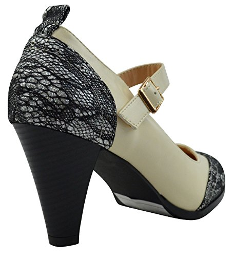 Toe Jane Chloe amp; Women's Tone Silver Chase Pumps Mary Two Round Cream Glitter Dora 2 YRZUx1q