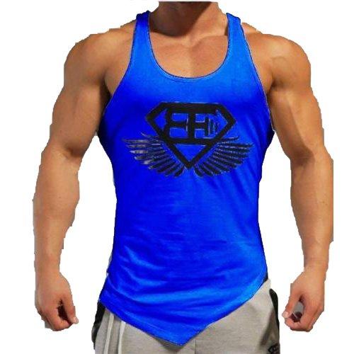 c8a88e9e95c096 New Fi Men GYM MUSCLE SLEEVELESS SHIRT TANK TOP BODYBUILDING SPORT FITNESS  VEST T-Shirt (Blue