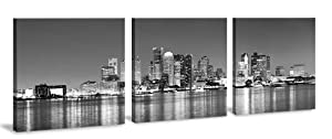 Boston Wall Art - Black and White 3 Piece Boston Skyline Modern Artwork Cityscape Panoramic Pictures Paintings on Canvas Decoration for Living Room Office Home Kitchen Decor Ready to Hang 16x16''x3