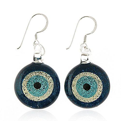 (925 Sterling Silver Hand Painted Murano Glass Glitter Blue Evil Eye Round Dangle Hook Earrings)