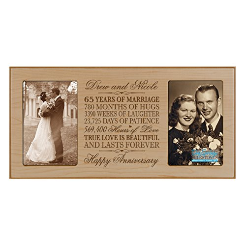 Personalized 65 year anniversary gift her him couple Custom Engraved wedding celebration for Husband wife girlfriend boyfriend photo frame holds two 4x6 photos by DaySpring International (Maple)
