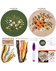 Embroidery Starter Kit with Pattern and Instructions Cross Stitch Kit Embroidery Clothes with Floral Pattern, Plastic Embroidery Hoops, Color Threads Needle Kit
