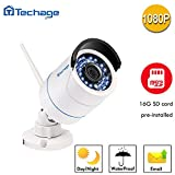 [Connect-to-Your-Own-WIFI Camera]Techage HD 1080P WIFI IP Camera 2.0MP Waterproof IP66 Nignt Vision Outdoor Security Camera Motion Detection With SD Card Slot (16G SD Card)