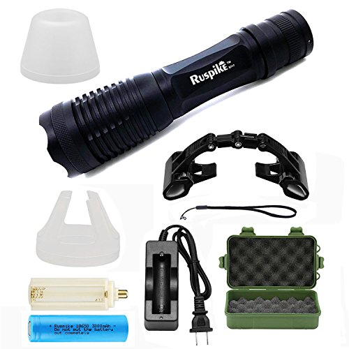 Ruspike Tactical Flashlight 1200 Lumens LED Portable Ultra Bright Handheld Flashlight 5 Mode Adjustable Focus Zoomable Focus Best Tools for Hiking, Hunting, Camping and Emergency Etc. (8 Pieces Sets)