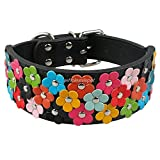LOVELY 2 Inch Wide Flower Studded Leather Dog Collar Pink Pet Collars Necklace For Medium And Large Dogs M L XL Black Red Black M