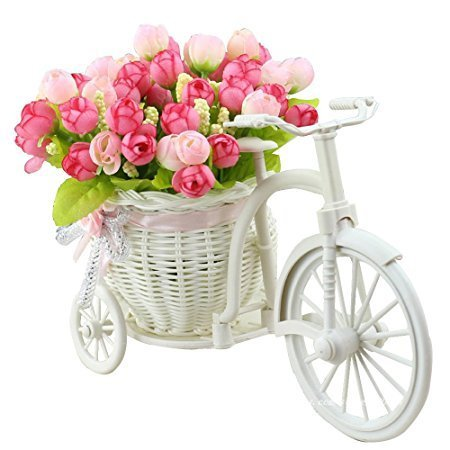 JAROWN Mini Garden Artificial Flora Silk Rose Ddisy Hand-Woven Flower Baskets Bicycle Stand for Home Office Decoration (New-Light Pink)
