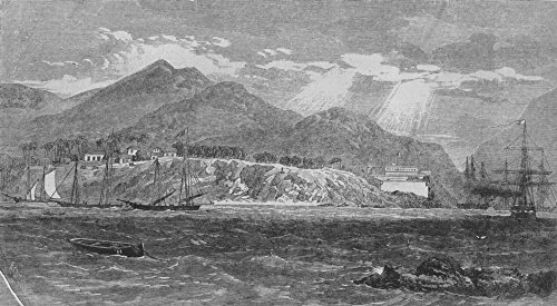 Old Antique Engraving - MEXICO. Acapulco, with the English and French fleet in the harbour - 1862 - old antique vintage print - engraving art picture prints of Mexico Towns - Illustrated London News