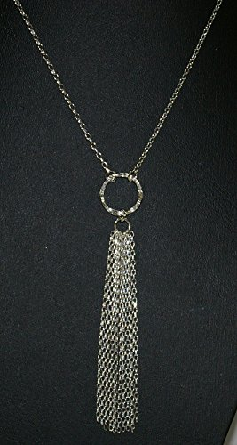 Diamond Cut Rolo Chain Hammered Circle Pendant TASSEL Necklace. Genuine Solid 925 Sterling Silver Handmade