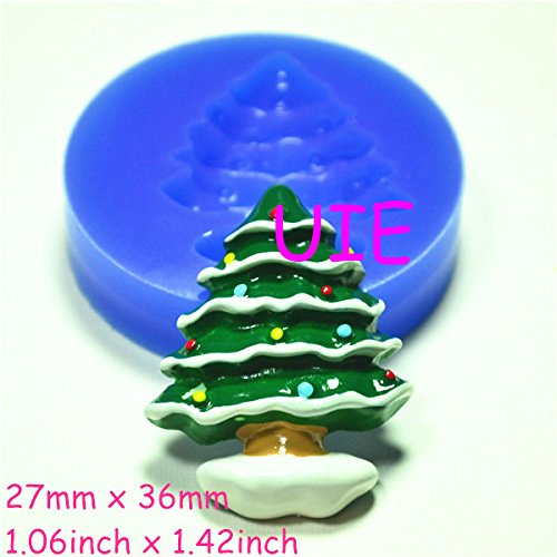 - 022LBJ Christmas Tree Silicone Push Mold Fondant Gumpaste Polymer Clay Charms Mini Resin Mold (Resin Wax Gum Paste Fondant)