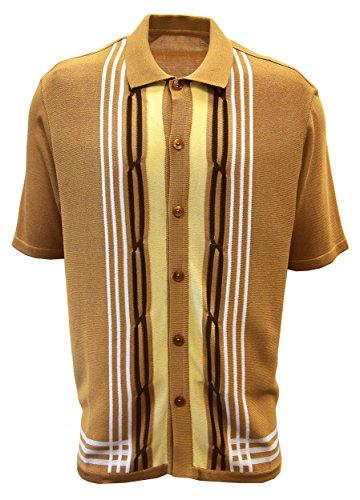 Edition S Men's Knit Shirt: Multi Stripes (3XL, Beige)