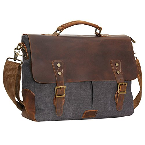 Berchirly Men Vintage Canvas Leather Tote Messenger Shoulder Bag Handbag 15.6Inch