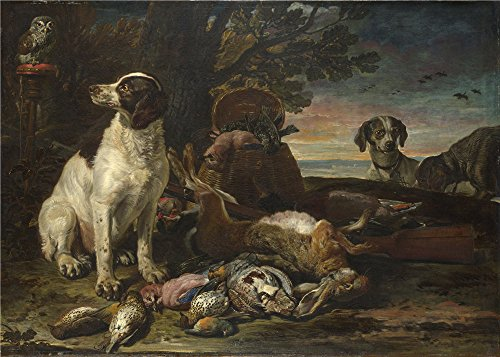 Oil painting 'David de Coninck Dead Birds and Game with Gun Dogs and a Little Owl ' printing on polyster Canvas , 16 x 22 inch / 41 x 57 cm ,the best Hallway artwork and Home decoration and Gifts is this Best Price Art Decorative Prints on Canvas