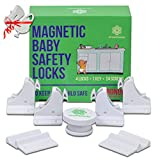 Magnetic Baby Safety Locks - 4 Locks + 1 Key + 6 Plug Protectors In One Set, Easy To Install On Cabinets/ Drawers/ Cupboards - Stick Or Drill (White)