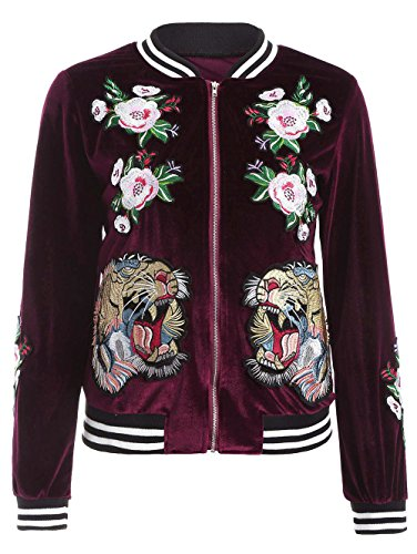 Farktop Women's Embroidery Patch Velvet Classic Biker Quilted Bomber Flight Jacket,Jacket-red,Large by Farktop (Image #5)