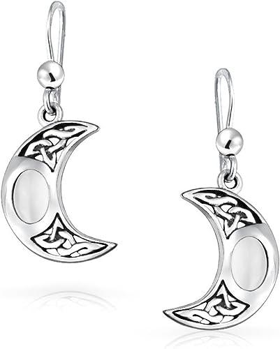 White Moonstone Celtic Irish Love Knot Oval Dangle Earrings Sterling Silver