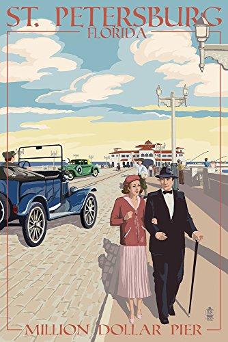 St. Petersburg, Florida - Million Dollar Pier (16x24 Fine Art Giclee Gallery Print, Home Wall Decor Artwork Poster)