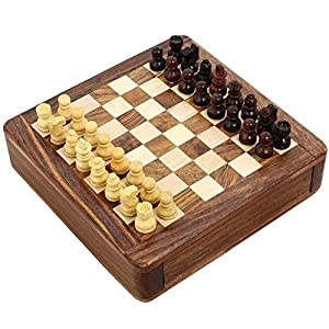Magnetic Chess Sets and Board Wooden Toys and Games 5 X 5 Inches Travel Games by ShalinIndia