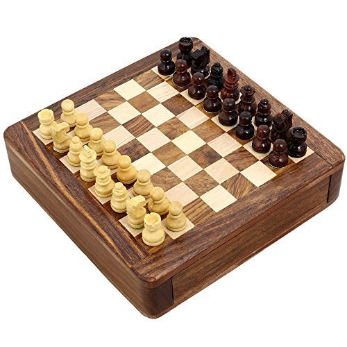 Magnetic Chess Sets and Board Wooden Toys and Games 5 X 5 Inches Travel Games by ShalinIndia by ShalinIndia by ShalinIndia