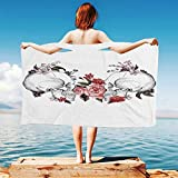 iPrint Gothic-Decor Quick Dry Plush Microfiber (Towel+Square scarf+Bath towel) Roses-and-Skull-Feast-of-All-Saints-Catholic-Tradition-Illustration-Art-Print And Adapt to any place
