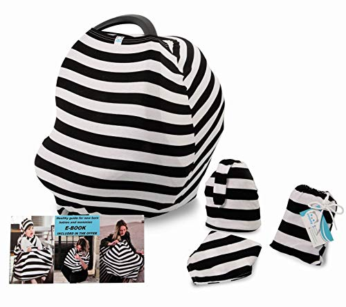 Yoopeey Nursing Cover for Breastfeeding and Discreet Lactation | Multi - Function/Use Car Seat Canopy | Baby Stroller + Carrier + High Chair + Shopping cart Covers