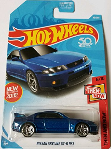 Hot Hot Wheels 2018 50th Anniversary Then And Now Nissan Skyline GT-R R33 46/365, Blue hot sale