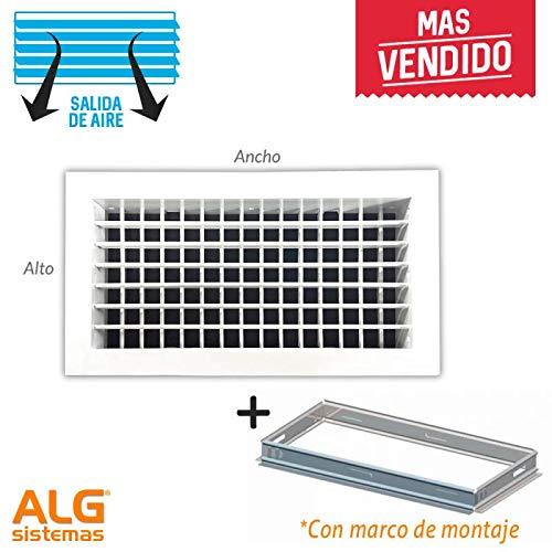 Grille d'aération double flux avec cadre de montage Blanc 500x100 mm