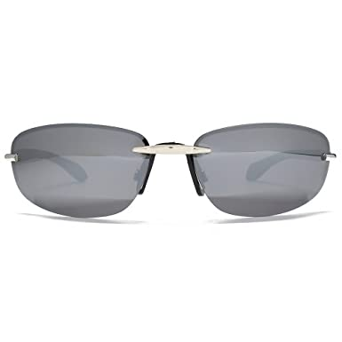 033fe928f70 Image Unavailable. Image not available for. Colour  Freedom Polarised Oval  Rimless Sunglasses Silver FRG145393