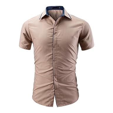 139150376c706 POachers Homme Chemise Slim Fit Manche Courte Couleur Unie Chemises pour Hommes  Ete Chic Mince Casual