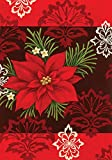 Toland Home Garden Red Damask 12.5 x 18 Inch Decorative Colorful Poinsettia Christmas Flower Garden...