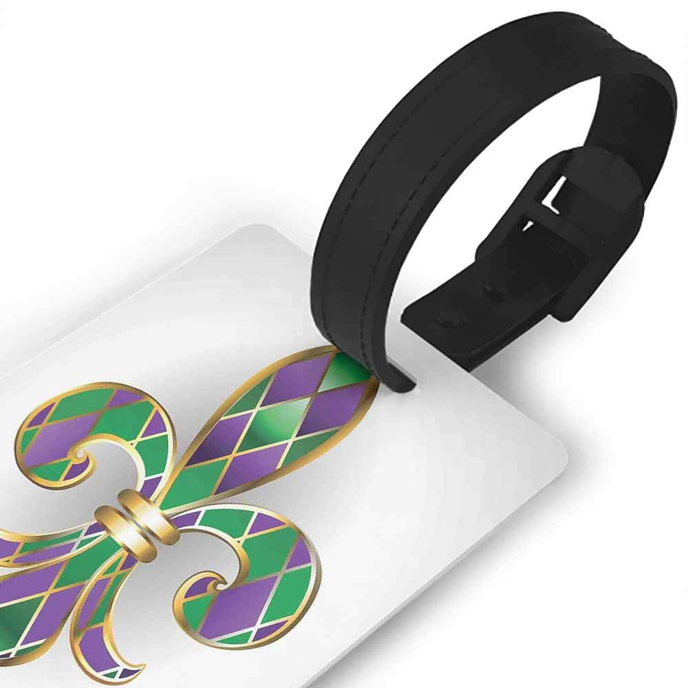 Leather luggage tag,Fleur De Lis,Gold Colored Lily Symbol With Diamond Shapes Royalty Theme Ancient Art,One Size Travel Accessories Gold Purple Green