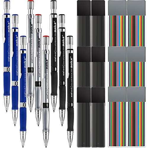 Jovitec 21 Pieces 2.0 mm Mechanical Pencil Set, 9 Pieces Automatic Pencils and 12 Cases Lead Refills (Color and Black) for Draft Drawing, Writing, Crafting, Art Sketching ()