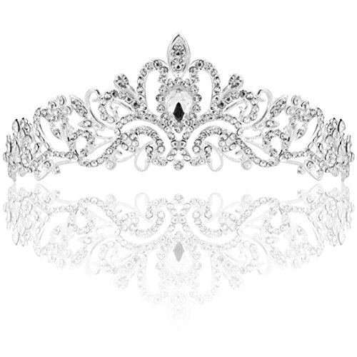 SUMERSHA Wedding Tiara Bridal Headband Rhinestones Pageant Princess Crown Decoration Silver Charming Hair Accessories (Princess In Tiaras)