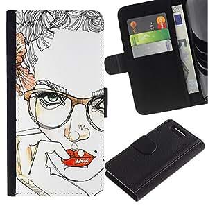 KingStore / Leather Etui en cuir / Sony Xperia Z1 Compact D5503 / Labios Chica Sensual Red Inteligente Gafas