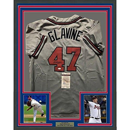 (Autographed Tom Glavine Jersey - FRAMED 33x42 Grey COA - JSA Certified - Autographed MLB Jerseys)