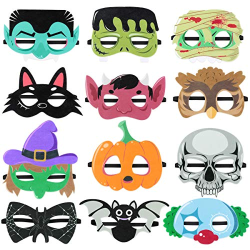 Toyvian 12pcs Halloween Masks, Felt Mask Masquerade Cosplay Mask for Kids Halloween Birthday Party Favors -