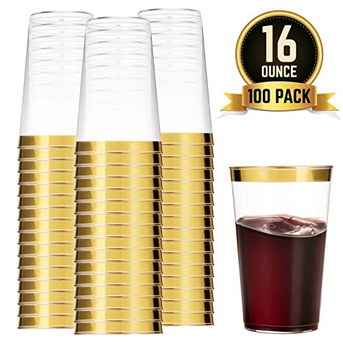 100 Gold Plastic Cups 16 Oz Clear Plastic Cups Tumblers Gold Rimmed Cups Fancy Disposable Wedding Cups Elegant Party Cups with Gold -