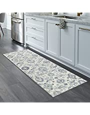 Maples Rugs Runner Rug - Blooming Damask 2 x 6 Distressed Style Non Skid Hallway Entry Rugs Runners [Made in USA] for Kitchen and Entryway, Gray/Blue
