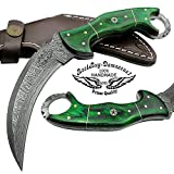 "Green Wood 8.2"" Fixed Blade Custom Handmade Damascus Steel Hunting Knife 100% Prime Quality ""LIMITED OFFER"" For Sale"