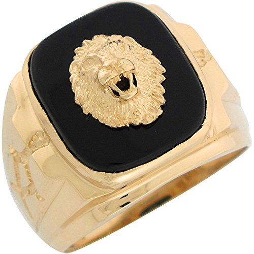 10k Yellow Gold Onyx Regal Lion Head Mens Nugget Style Ring by Jewelry Liquidation