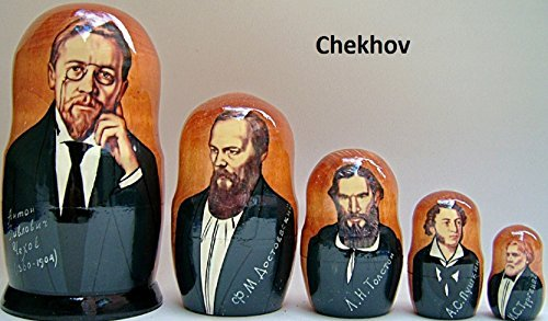 hand made Chekhov Russian Nesting Doll (Dostoevsky Tolstoy Pushkin) 5 pcs / 6 in by hand made (Image #1)
