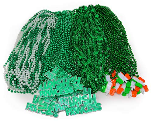 Bulk Pack of 72 St. Patrick's Day Colorful Shamrock Beads Necklace ASSORTMENT, Shamrock and Green Beads 33