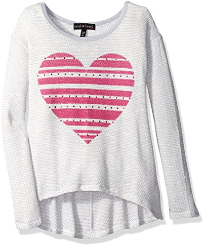 Derek Heart Big Girls' Long Sleeve Hi Lo Swearknit Top, Pink Rose, Small/7-8 by Derek Heart