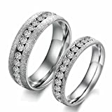 KnSam Couple Stainless Steel Wedding Bands Frosted Channel Set White Comfort Fit Plain [Novelty Ring]