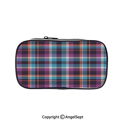 Bag Pen Case Felt Students Stationery Pouch Zipper Bag,Celtic Tartan Irish Culture Scotland Country Antique Tradition Tile Decorative Violet Light Blue Salmon 5.1inches,for Pens,Pencils,and Other SCH]()