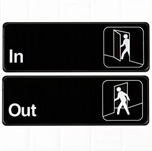 (Set of 2) in Out Door Signs - Black and White, 9 x 3-inches, in Out Signs for Office Door, Signs for Business by Tezzorio